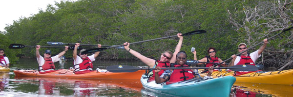 Group kayaking